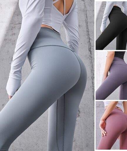 High Waist Women's Cotton Leggings For Sports-in gray color