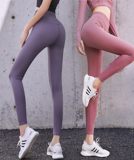 Two High Waist Women's Cotton Leggings For Sports-in gray and pink color