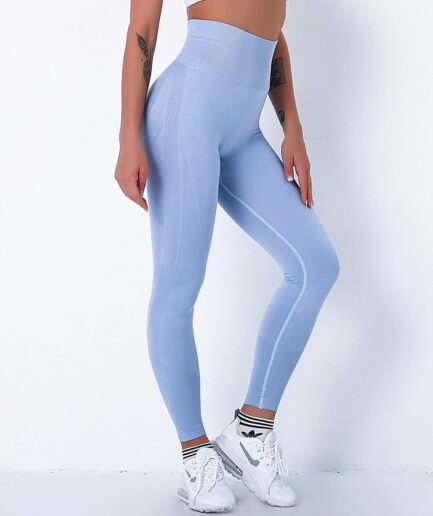 High Waist Seamless Bubble Butt Yoga Leggings for Push Up-in blue color