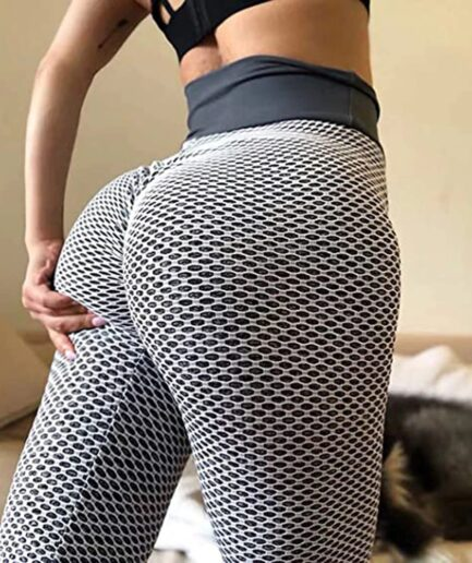 Mesh Yoga leggings for Women with High Waist-in gray color
