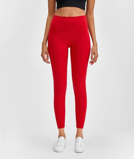 Buttery-Soft Bare Workout Gym Yoga Leggings for Women-in red color