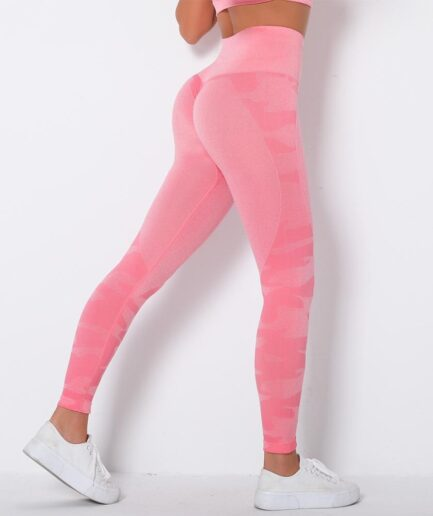 Seamless Women's Camo Leggings For Gym-in pink color